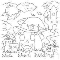 abóbora alegre com um chapéu. página do livro para colorir para crianças. personagem de estilo de desenho animado. ilustração vetorial isolada no fundo branco. tema de halloween. vetor