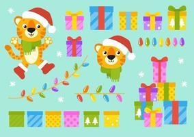 símbolo do tigre com um chapéu de inverno com presentes. Personagem de desenho animado. ilustração vetorial colorida. feliz Ano Novo e feliz Natal. isolado na cor de fundo. elemento de design. vetor