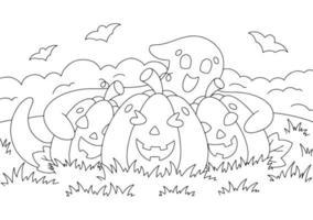 fantasma fofo abraça abóboras. página do livro para colorir para crianças. personagem de estilo de desenho animado. ilustração vetorial isolada no fundo branco. tema de halloween. vetor