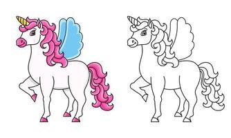 unicórnio fofo com asas. cavalo mágico de fadas. cavalo mágico de fadas. página do livro para colorir para crianças. estilo de desenho animado. ilustração vetorial isolada no fundo branco. vetor