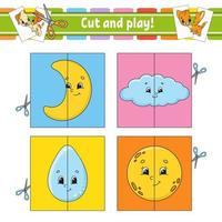 cortar e jogar. cartões de memória flash. quebra-cabeça de cores. planilha de desenvolvimento de educação. página de atividades. jogo para crianças. personagem engraçado. ilustração isolada do vetor. estilo de desenho animado. vetor