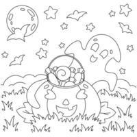 um fantasma fofo encontrou uma abóbora com doces no campo. página do livro para colorir para crianças. tema de halloween. personagem de estilo de desenho animado. ilustração vetorial isolada no fundo branco. vetor