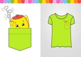 bule amarelo no bolso da camisa. personagem fofinho. ilustração vetorial colorida. estilo de desenho animado. isolado no fundo branco. elemento de design. modelo para suas camisas, livros, adesivos, cartões, pôsteres. vetor