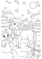 unicórnio de fadas mágico e boneco de neve com presentes. cavalo fofo. página do livro para colorir para crianças. personagem de estilo de desenho animado. ilustração vetorial isolada no fundo branco. vetor