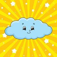 nuvem azul. personagem fofinho. ilustração vetorial colorida. estilo de desenho animado. isolado no fundo branco. elemento de design. modelo para seu projeto, livros, adesivos, cartões, cartazes, roupas. vetor