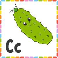 alfabeto engraçado. cartões de memória flash quadrados abc. personagem de desenho animado bonito isolado no fundo branco. para a educação de crianças. planilha de desenvolvimento. aprender letras. ilustração do vetor de cor.