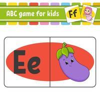cartões flash abc. alfabeto para crianças. aprender letras. planilha de desenvolvimento educacional. página de atividades para estudar inglês. jogo para crianças. personagem engraçado. ilustração isolada do vetor. estilo de desenho animado. vetor