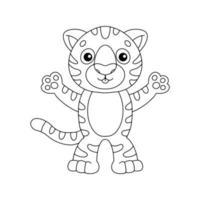 tigre fofo. página do livro para colorir para crianças. personagem de estilo de desenho animado. ilustração vetorial isolada no fundo branco. vetor