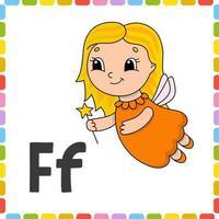 alfabeto engraçado. cartões flash abc. personagem de desenho animado bonito isolado no fundo branco. para a educação de crianças. aprender letras. ilustração vetorial. vetor
