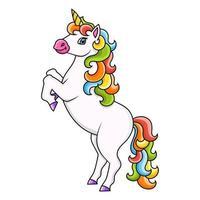 unicórnio fofo. cavalo mágico de fadas. Personagem de desenho animado. ilustração vetorial colorida. isolado no fundo branco. elemento de design. modelo para seu projeto, livros, adesivos, cartões, cartazes, roupas. vetor