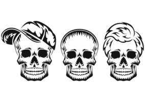 crânio humano. silhueta negra. elemento de design. esboço desenhado de mão. estilo vintage. ilustração vetorial. vetor