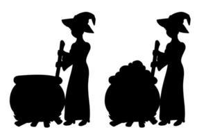 a bruxa está preparando uma poção em um caldeirão. silhueta negra. elemento de design. ilustração vetorial isolada no fundo branco. tema de halloween. vetor