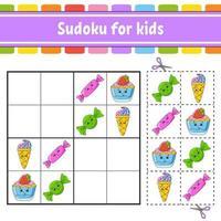 sudoku para crianças. planilha de desenvolvimento educacional. página de atividades com fotos. jogo de puzzle para crianças. treinamento de pensamento lógico. ilustração isolada do vetor. personagem engraçado. estilo coon. vetor