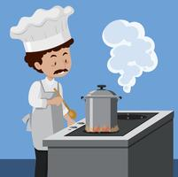 Um, cozinheiro, cozinhar, com, panela pressão vetor