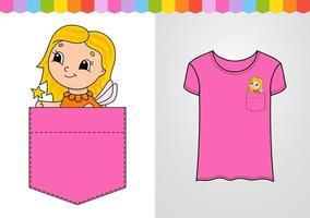 personagem bonita no bolso da camisa. personagem fofinho. ilustração vetorial colorida. estilo de desenho animado. isolado no fundo branco. elemento de design. modelo para suas camisas, livros, adesivos, cartões, pôsteres. vetor