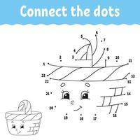 ponto a ponto. Desenhe uma linha. prática de caligrafia. aprender números para crianças. planilha de desenvolvimento educacional. página de atividades. jogo para crianças e pré-escolares. ilustração isolada do vetor. estilo dos desenhos animados. vetor