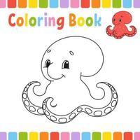 livro de colorir para crianças. personagem alegre. ilustração vetorial. estilo bonito dos desenhos animados. página de fantasia para crianças. silhueta de contorno preto. isolado no fundo branco. vetor