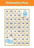 labirinto matemático. jogo para crianças. labirinto de números. planilha de desenvolvimento educacional. página de atividades. quebra-cabeça para crianças. personagens de desenhos animados. enigma para a pré-escola. ilustração vetorial de cor vetor