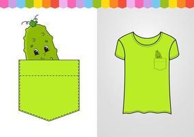 pepino no bolso da camisa. personagem fofinho. ilustração vetorial colorida. estilo de desenho animado. isolado no fundo branco. elemento de design. modelo para suas camisas, livros, adesivos, cartões, pôsteres. vetor