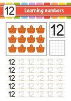aprender números para crianças. prática de caligrafia. planilha de desenvolvimento educacional. página de atividades. jogo para crianças e pré-escolares. ilustração vetorial isolada no estilo bonito dos desenhos animados. vetor