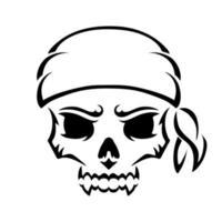 pirata de caveira com raiva. silhueta de contorno. elemento de design. ilustração vetorial isolada no fundo branco. modelo para livros, adesivos, cartazes, cartões, roupas. vetor