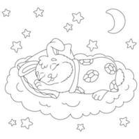 um coelho fofo dorme debaixo de um cobertor. página do livro para colorir para crianças. estilo de desenho animado. ilustração vetorial isolada no fundo branco. vetor