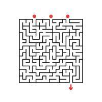 labirinto quadrado abstrato. jogo para crianças. quebra-cabeça para crianças. enigma do labirinto. ilustração em vetor plana isolada no fundo branco.