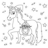 um unicórnio com um chapéu de bruxa carrega uma cesta de abóbora com doces. cavalo mágico de fadas. tema de halloween. página do livro para colorir para crianças. estilo de desenho animado. ilustração vetorial isolada no fundo branco. vetor