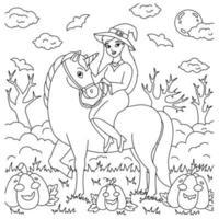 a bruxa monta um unicórnio. página do livro para colorir para crianças. personagem de estilo de desenho animado. ilustração vetorial isolada no fundo branco. tema de halloween. vetor