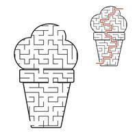 sorvete apetitoso do labirinto negro. planilhas para crianças. página de atividades. jogo de quebra-cabeça para crianças. comida saborosa. enigma do labirinto. ilustração vetorial. com a resposta. vetor