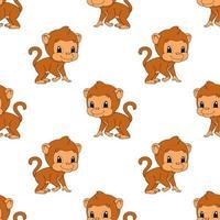 macaco feliz. padrão colorido sem costura com personagem de desenho animado bonito. ilustração em vetor plana simples isolada no fundo branco. criar papel de parede, tecido, papel de embrulho, capas, sites.