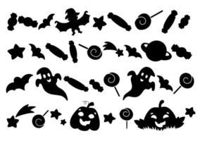 conjunto de elementos de abóbora, fantasmas, doces, estrelas. silhueta negra. elemento de design. ilustração vetorial isolada no fundo branco. tema de halloween. vetor