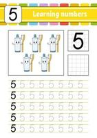 rastrear e escrever. prática de caligrafia. aprender números para crianças. planilha de desenvolvimento de educação. página de atividades. jogo para crianças e pré-escolares. ilustração vetorial isolada no estilo bonito dos desenhos animados. vetor