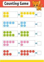 adição e subtração. tarefa para crianças. planilha de desenvolvimento educacional. página colorida da atividade. jogo para crianças. personagem engraçado. ilustração isolada do vetor. estilo de desenho animado. vetor