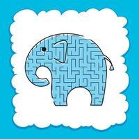 labirinto de cores para elefante. planilhas para crianças. página de atividades. jogo de quebra-cabeça para crianças. animal selvagem. enigma do labirinto. ilustração vetorial. vetor