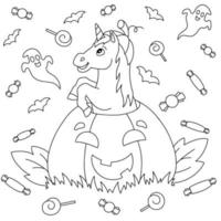 unicórnio engraçado pulando de uma abóbora para o feriado de halloween. página do livro para colorir para crianças. personagem de estilo de desenho animado. ilustração vetorial isolada no fundo branco. vetor