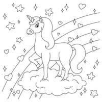 unicórnio de fadas mágico na nuvem. cavalo fofo. página do livro para colorir para crianças. estilo de desenho animado. ilustração vetorial isolada no fundo branco. vetor