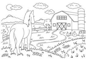 cavalo fofo. animal de fazenda. página do livro para colorir para crianças. estilo de desenho animado. ilustração vetorial isolada no fundo branco. vetor