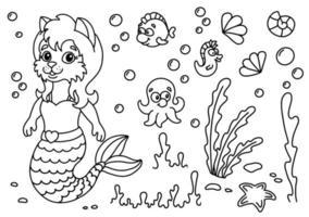 gato bonito sereia no mundo subaquático. página do livro para colorir para crianças. estilo de desenho animado. ilustração vetorial isolada no fundo branco. vetor
