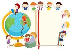 Crianças, com, globo, e, livro vetor