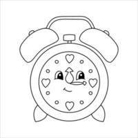 despertador. página do livro para colorir para crianças. estilo de desenho animado. ilustração vetorial isolada no fundo branco. vetor