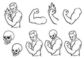 fisiculturista masculino flexionando seus bíceps. silhueta de contorno. elemento de design. ilustração vetorial isolada no fundo branco. modelo para livros, adesivos, cartazes, cartões, roupas. vetor