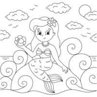 jovem linda pequena sereia senta-se em uma pedra. página do livro para colorir para crianças. personagem de estilo de desenho animado. ilustração vetorial isolada no fundo branco. vetor