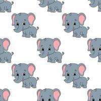 elefante feliz. padrão colorido sem costura com personagem de desenho animado bonito. ilustração em vetor plana simples isolada no fundo branco. criar papel de parede, tecido, papel de embrulho, capas, sites.