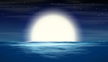lua cheia sobre o mar vetor
