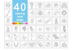 um grande conjunto de livros de colorir para crianças. personagens de desenhos animados bonitos. páginas para colorir. natal, verão, animais, vegetais, comida, páscoa. ilustração vetorial isolada no fundo branco. vetor