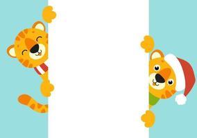 cartão da cor do presente. tigre simbol em um chapéu de Papai Noel. personagem de desenho animado bonito. feliz Ano Novo e feliz Natal. animal segurando um cartaz em branco branco. estilo simples. ilustração vetorial. vetor