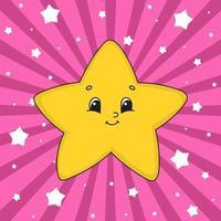 Estrela amarela. personagem fofinho. ilustração vetorial colorida. estilo de desenho animado. isolado no fundo branco. elemento de design. modelo para seu projeto, livros, adesivos, cartões, cartazes, roupas. vetor