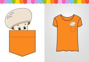champignon bege no bolso da camisa. personagem fofinho. ilustração vetorial colorida. estilo de desenho animado. isolado no fundo branco. elemento de design. modelo para suas camisas, livros, adesivos, cartões, pôsteres. vetor