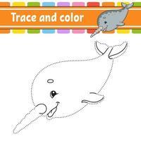 traço e cor. página para colorir para crianças. prática de caligrafia. planilha de desenvolvimento de educação. página de atividades. jogo para crianças. ilustração isolada do vetor. estilo de desenho animado. vetor